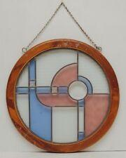 VTG Round Stained Glass Window Panel Sun Catcher Blue Pink Teak Wood Framed Deco