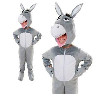 Kids Big Head Donkey Costume Nativity Book Week Day Boys Girls Xmas Fancy Dress