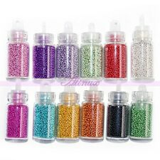 Little 12 Bottles Beads Caviar Balls Nail Art Rhinestone Manicure DIY Decoration