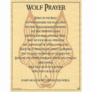 """Wolf Prayer Poster 8.5 x 11"""" Parchment Print NEW Book of Shadows Page"""