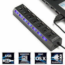 7-Port USB 2.0 Multi Charger Hub +High Speed Adapter ON/OFF Switch Laptop/PC US