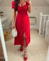 ZARA NEW LONG RED DRESS MIDI BUTTONS PUFF SLEEVES A-LINE SWEETHEART SIZE XS-L