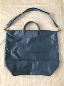 Longchamp Le Pliage Club Expandable Travel Bag with Shoulder Strap-Sky Blue XXL