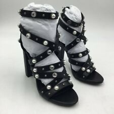 Michael Antonio Womens Renata Sandals Black Block Heels Zip Rhinestones 7 New