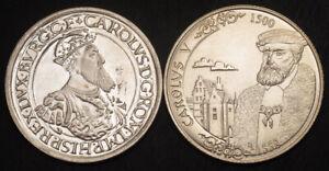 "1987/2000, Belgium.Large Silver 5 Ecu & 500 Francs ""Charles V"" Coins. 2pcs!"