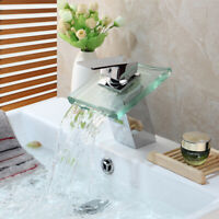 Silver Bathroom Glass Spout Waterfall Basin Faucet Vessel Sink Mixer Brass Taps