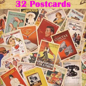 Set of 32 Mixed Vintage Postcards Retro Advertising Movie Travel Post Cards New