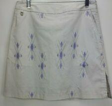 Cutter & Buck Annika Golf Argyle Print Skort Skirt Womens Size 8 38 Beige Purple