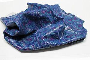 Italian upholstery COW hide leather skin skins BLUE PYTHON SNAKE PRINT 14sqf