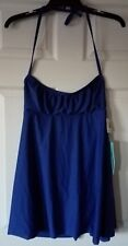 $48 NWT Eco Swim by Aqua Green Swimsuit Cover Up Halter Dress Blue Size L Large