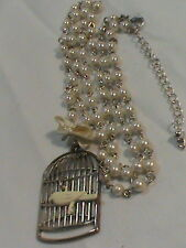 Bird Cage Pendant Necklace on string of Faux Pearls