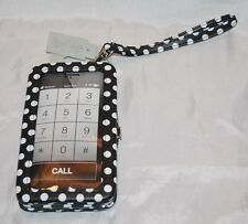 Black White Polka Dot Hard Phone Case Credit Card Wallet Purse Wristlet IPhone 6