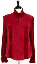 Coldwater Creek XL Cardigan Sweater Suede Raspberry Red Zip Front