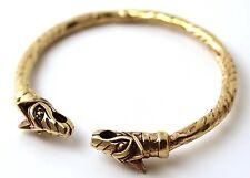 Bronze Norse Viking Mjolnir Wolf Head Twisted Rope Carve Bangle Cuff Bracelet