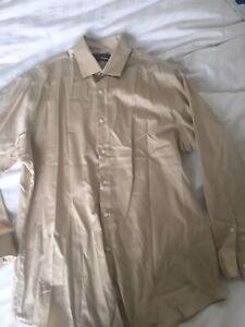 Geoffrey Beene Button Up Dress Shirt Mens Large 16 32/33 Gold