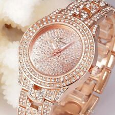 ROSE GOLD Geneva Bracelet Designer Style Ladies Womens Crystal Party Bling Watch