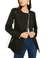 INC Women's Open Front Long Sleeve Faux-Leather-Trim Moto Jacket (Black, S)