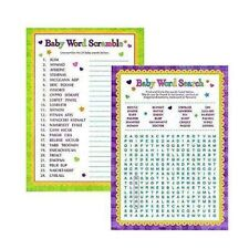 Baby Shower Playing Games Words Search Word Scramble Fun Activities
