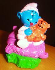 Baby Smurf Smurffette & Teddy Bear Figurine 1999 Peyo