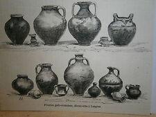 Gravure 19° poterie Gallo Romaine découverte à Langre