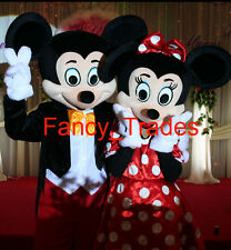 New Mickey Minnie couple Mouse 2 Mascot Costume Fancy Dress+Free Ship+EPE