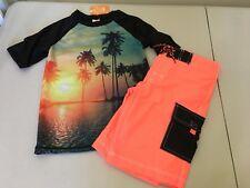 NWT Gymboree Boys Tropical Palm Rash Guard trunk Shorts Set UPF 50+ Swimsuit