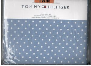 Tommy Hilfiger Polka Dot Twin XL Sheet Set White Blue TH Flag Logo 3 Pcs New