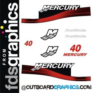 Mercury 40hp four stroke outboard decals/sticker kit