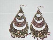 Ethnic Tribal Copper Silver Brass Col Lightweight Metal Very Big Long Earrings