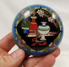 Vintage Chinese Japanese Cloisonne' Oval Covered Box Still Life Vase & Flowers