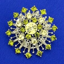 Flower Star Brooch Made With Swarovski Crystal Green New Pin Jewelry Gift