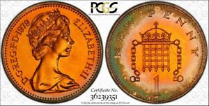 1979 GREAT BRITAIN ONE NEW PENNY PCGS PR65RB COLOR TONED ONLY 8 GRADED HIGHER