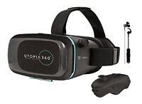 Retrak Immersive Utopia 360 Virtual Reality 3D Headset with Bluetooth Control