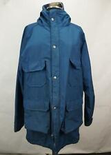 Vintage Woolrich Women's Mountain Parka Jacket Wool Plaid Lined Hood Long Blue L