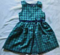 NWT 7/8 Girl's Dress Sleeveless Button-up Back Fully Lined Navy Green Polyester