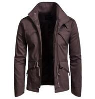 Mens Stand Collar Single Breasted Long Sleeve Cotton Short Casual Coat Outwear
