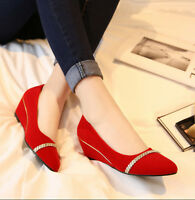 Ladies Pointed Toe Wedge Low Heels Casual Dress Shoes Pumps Dress Size Weeding