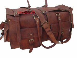 "Men's Brown Leather Vintage Duffle 26""Gym Weekender Overnight Travel Bag"