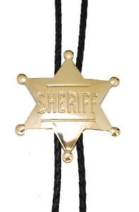 "Sheriff Badge Star Bolo Tie Adjustable 36"" Cord USA Made Western Gold Tone"