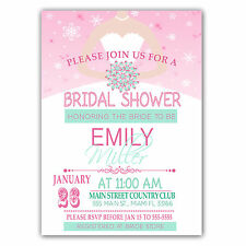 30 Personalized Bridal Shower Invitations Winter Snowflakes Pink Mint A1