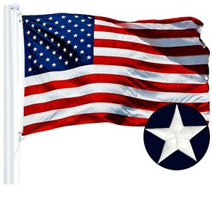 G128 – American Flag US USA   6x10 ft   Embroidered Stars, Sewn Stripes