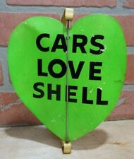 Original Old CARS LOVE SHELL Gas Station Green Spinner Heart Advertising Sign