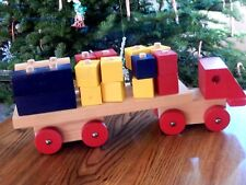 """Ikea Wooden Toy Truck With Blocks Made in Sweden 13 """"  length 22 pieces"""