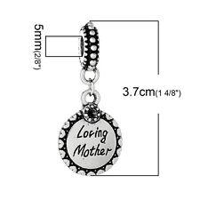 """""""Loving Mother"""" Charm Bead Spacer for Snake chain Bracelets 2682"""