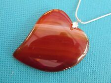 "925 Sterling Silver 18"" Snake Chain Heart Shape Toffee Coloured Agate (nk1673)"