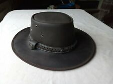 Genuine Brown Leather Fedora Wide Brim Hat  small size