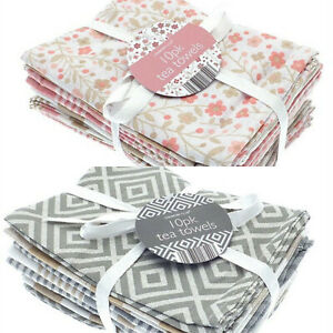 100% COTTON PACK OF 10 TEA TOWELS / KITCHEN CATERING CLOTH  ASSORTED COLOURS