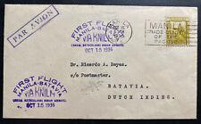 1936 Manila Philippines First Flight Cover FFC to Batavia Netherlands Indies