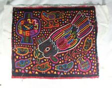 MOLA from San Blas Panama Kuna people Pillow top birds clock hand stitched