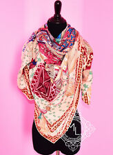 NEW HERMES CASHMERE 140 GM CAVALIERS PALE ROSE PINK FRAMBOISE SHAWL SCARF WRAP